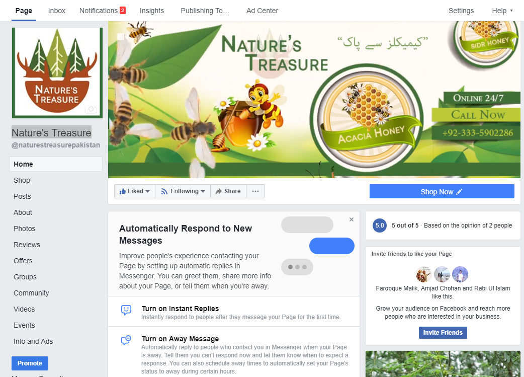 Nature's Treasure Facebook Page